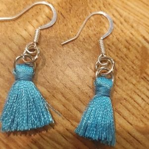 Turquoise colored mini tassel earrings